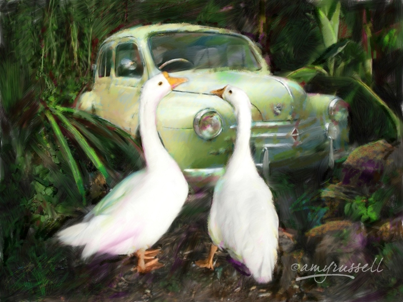 Two Ducks with old French Car - Photoshop montage & Corel Painter